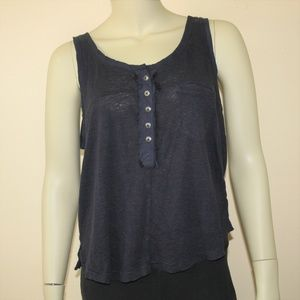 Free People Navy Blue Linen Shirt Small